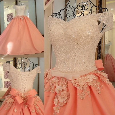 Elegant Beading Ribbon Bow Ball Gown Quinceanera Dresses_1