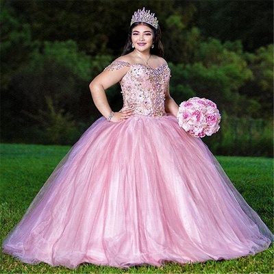 Excellent Off-the-shoulder Beadings Ball Gown Quince Dresses | Pink XV Dresses Long_1