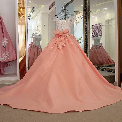 Elegant Beading Ribbon Bow Ball Gown Quinceanera Dresses_3