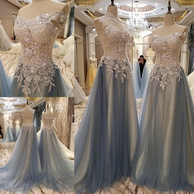 Sleeveless Appliques Top Long Tulle Quinceanera Dresses_1