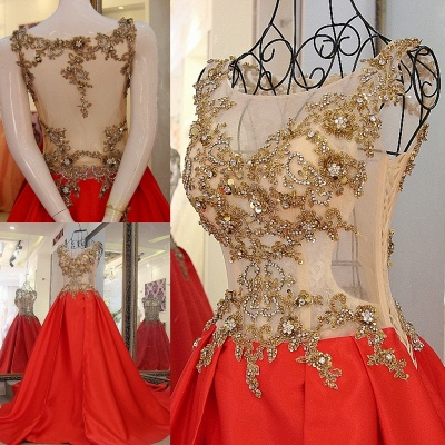 Sequins Beading Sleeveless Red Long Quinceanera Dresses_1