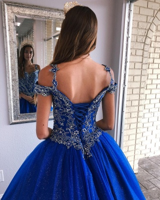 Fascinating Royal Blue Spaghetti Straps Appliques Ball Gown Quinceanera Dresses | Lace-up 15 Dresses Long_3