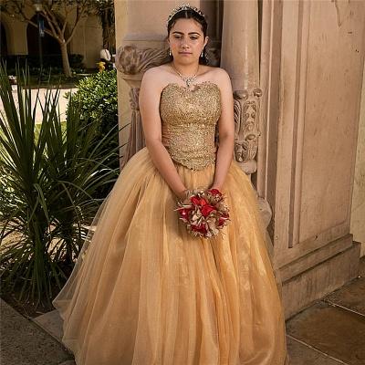 Vestidos de quincea?era con hermoso vestido de bola de encaje | Sin mangas 16 vestidos largos_2