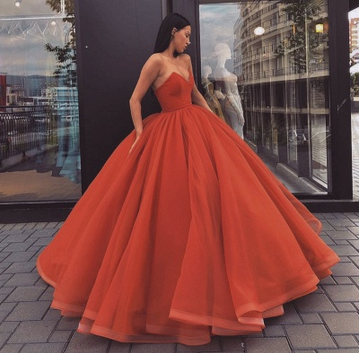 Fabulous Sweetheart Ball Gown Prom Dresses | Simple Floor Length Evening Dresses_3