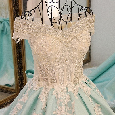 Appliqued Off-the-shoulder Long Ball Gown Quinceanera Dresses_5