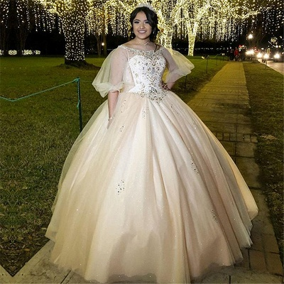Exquisite Bateau Beadings Ball Gown Quinceanera Dresses | Illusion Half-Sleeves Sweet 16 Dresses Long_1