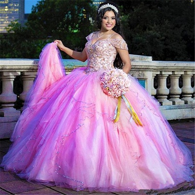 Marvelous Spaghetti Straps Beadings Ball Gown Sweet 16 Dresses | Layered Quinceanera Dresses Long_1