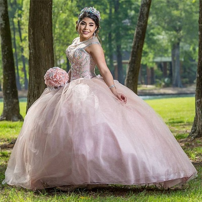 Wonderful Jewel Beadings Ball Gown 15 Dresses | Sleeveless Quinceanera Dresses Long_2