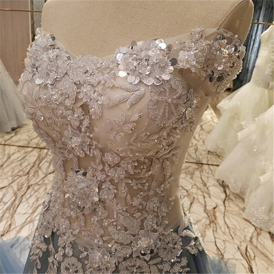 Sleeveless Appliques Top Long Tulle Quinceanera Dresses_5