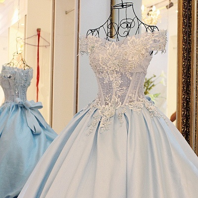Off-the-Shoulder Sleeveless Appliques Quinceanera Dress_5