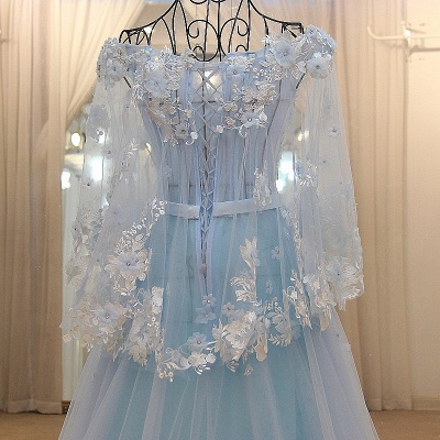 Long Sleeves Tulle Flower Appliques Quinceanera Dresses_4