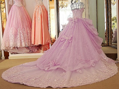 Strapless Sweetheart Beading Bows Quinceanera Dress_3