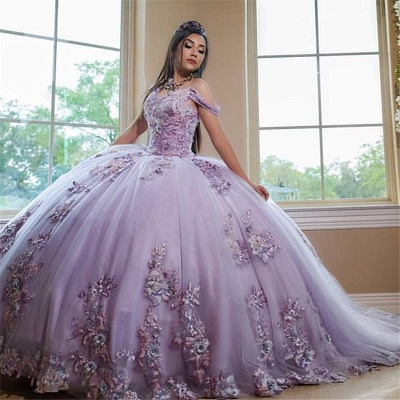 Excellent Purple Off-the-shoulder Ball Gown Quince Dresses | Shining Bodice XV Dresses Long_1