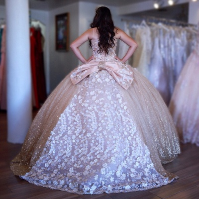 Beautiful Sweetheart Flowers Ball Gown Quinceanera Dresses | Strapless Bowknot 16 Dresses Long_2