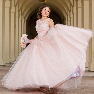 Wonderful Pink Jewel Sleeveless Appliques 15 Dresses | Pretty Quinceanera Dresses Long