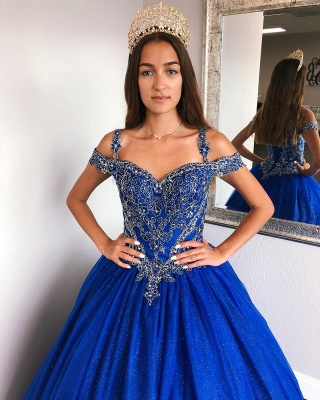 Fascinating Royal Blue Spaghetti Straps Appliques Ball Gown Quinceanera Dresses | Lace-up 15 Dresses Long_4