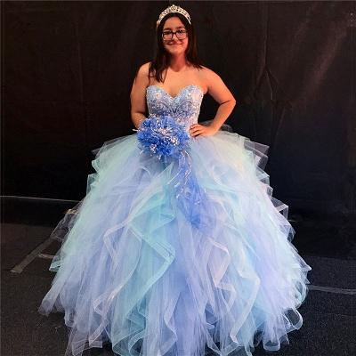 Excelente colorido cari_o volantes Vestidos de fiesta | Brillantes Listones XV Vestidos Largos_1