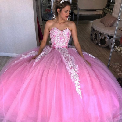 Exquisite Sweetheart Appliques Ball Gown Sweet 16 Dresses | Tulle Sleeveless Quinceanera Dresses Long_1