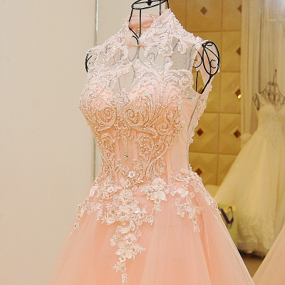 Elegant High Neck Appliqued Tulle Long Quinceanera Dresses_5