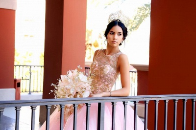 Excelente Blush Pink Jewel Appliques vestido de bola Vestidos de membrillo | Listones XV Vestidos Largos_6