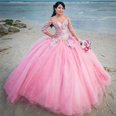 Wonderful Off-the-shoulder V-neck Ball Gown 15 Dresses | Appliques Quinceanera Dresses Long_1