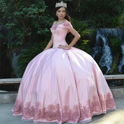 Exquisite Off-the-shoulder Ball Gown Lace Quinceanera Dresses | Beadings Sweet 16 Dresses Long_1
