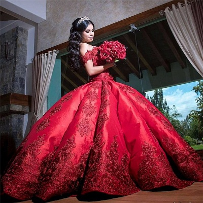 Marvelous Burgundy Off-the-shoulder Ball-Gown Sweet 16 Dresses | Lace Quinceanera Dresses Long_1