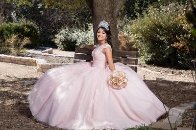 Preciosa joya rosa sin mangas apliques vestidos de quincea_era | Vestido de fiesta xv vestidos_3