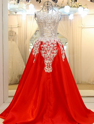 Lace Appliques Beading Sleeveless Red Quinceanera Dresses_2