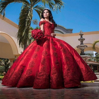 Marvelous Burgundy Off-the-shoulder Ball-Gown Sweet 16 Dresses | Lace Quinceanera Dresses Long_2