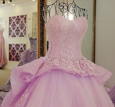 Strapless Sweetheart Beading Bows Quinceanera Dress_4