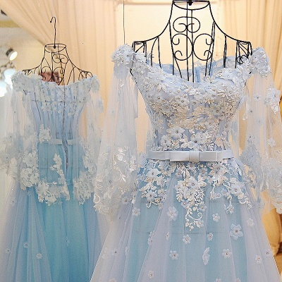 Long Sleeves Tulle Flower Appliques Quinceanera Dresses_3