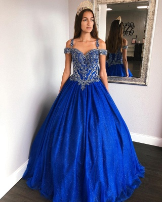 Fascinating Royal Blue Spaghetti Straps Appliques Ball Gown Quinceanera Dresses | Lace-up 15 Dresses Long_2