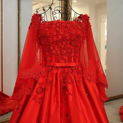 Red Long Sleeves Floor Length Appliqued Quinceanera Dresses with Sash_5