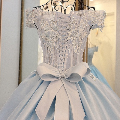Off-the-Shoulder Sleeveless Appliques Quinceanera Dress_4