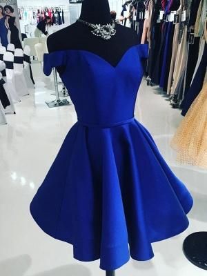 Simple Off-the-Shoulder Sexy V-Neck Dama Dress_1