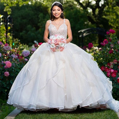 Wonderful Sweetheart V-neck Beadings Ball Gown 15 Dresses | Spaghetti Straps Quinceanera Dresses Long_1