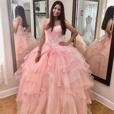 Fascinating Sweetheart Appliques Ball Gown Quinceanera Dresses | Layered 15 Dresses Long_1
