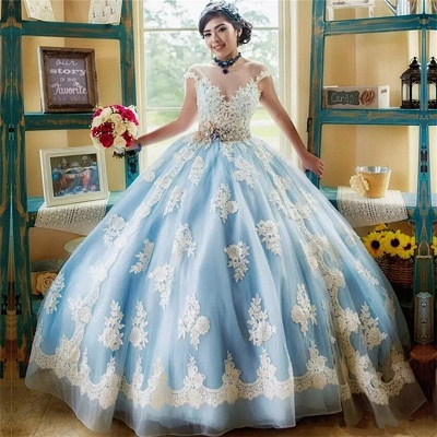 Marvelous Illusion Jewel Capsleeves Ball Gown Sweet 16 Dresses | Appliques Quinceanera Dresses Long_1