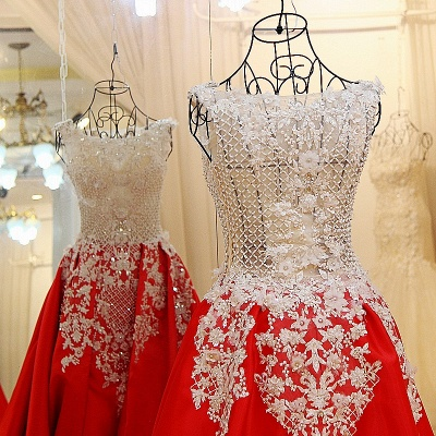 Lace Appliques Beading Sleeveless Red Quinceanera Dresses_4
