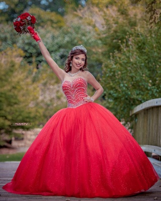 Fascinating Watermelon Red Sweetheart Ball Gown Quinceanera Dresses | Beadings 15 Dresses Long_3