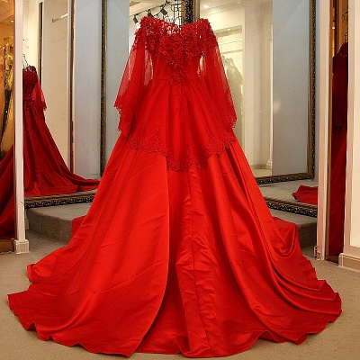 Red Long Sleeves Floor Length Appliqued Quinceanera Dresses with Sash_2