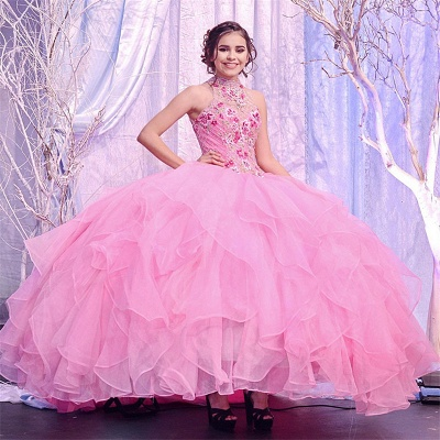Wonderful Pink High-neck Embroidery 15 Dresses | Sleeveless Quinceanera Dresses Long_1