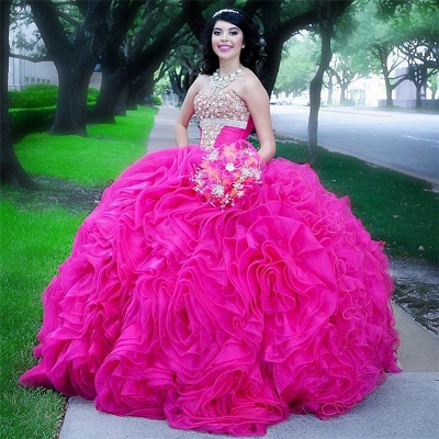 Fabulous Halter Beadings Ball Gown XV Dresses | Sleeveless Ruffles Quinceanera Dresses Long