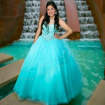 Charming Blue V-neck Ball Gown Beadings Quince Dresses | Sleeveless 16 Dresses Long_1
