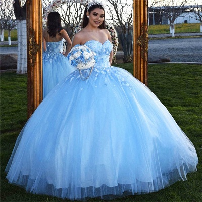 Fascinating Strapless Sweetheart Ball Gown Quinceanera Dresses | Appliques 15 Dresses Long_1