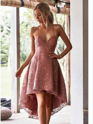 Hi-Lo Lace Spaghetti-Straps Sexy V-Neck Dama Dress_1