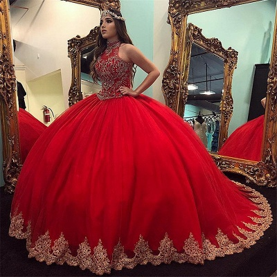 Exquisite High-Neck Beadings Ball Gown Quinceanera Dresses | Appliques Sweet 16 Dresses Long_1