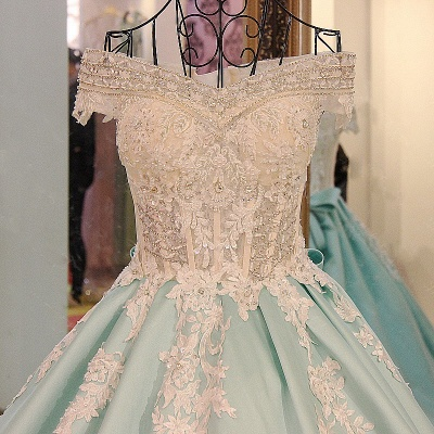 Appliqued Off-the-shoulder Long Ball Gown Quinceanera Dresses_3