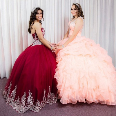 Beautiful Red Sweetheart Sleeveless Ball Gown Quinceanera Dresses | Appliques 16 Dresses Long_6